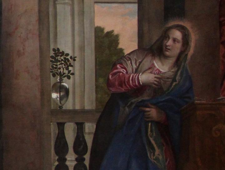 Paolo Veronese, Annunciazione (dettaglio), 1578, Gallerie dell'Accademia, Venezia (da wikimedia commons: https://commons.wikimedia.org/wiki/File:Veronese,_annunciazione,_1578,_01.JPG)