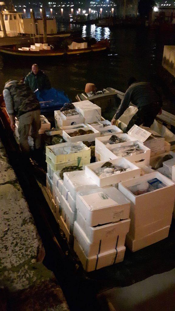 Venedig, bereit für den Rialto Fischmarkt