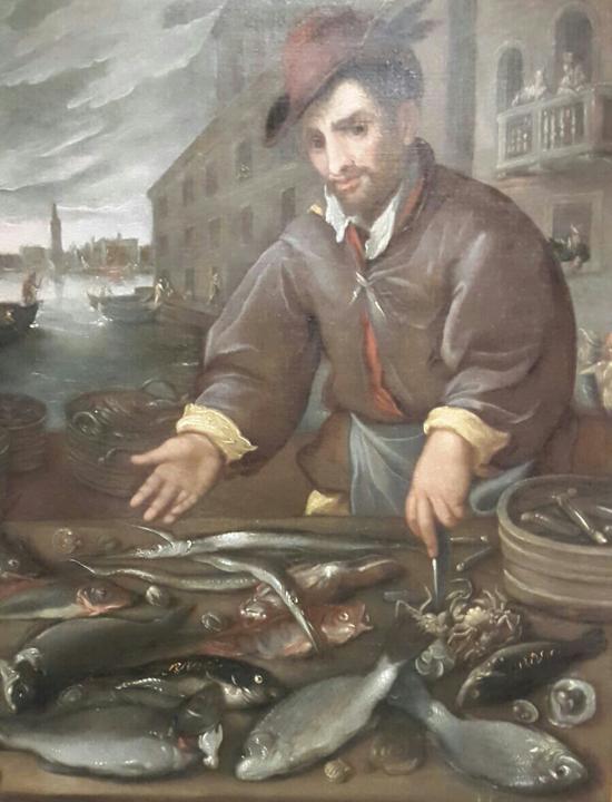 Venditore di pesce a Venezia, Dirck de Vries, 1600 ca.