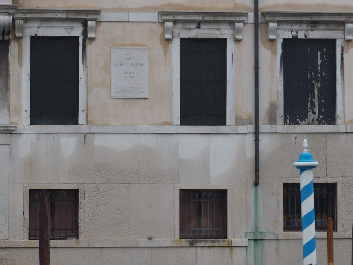 stone slab on the facade of the Palazzo Mocenigo il Nero on the Grand Canal where Byron spent over 1 year