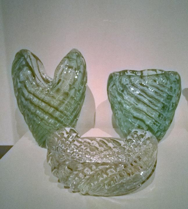 Venini, Esempio di Vetri Diamante (oggetti esposti in mostra a San Giorgio Maggiore)