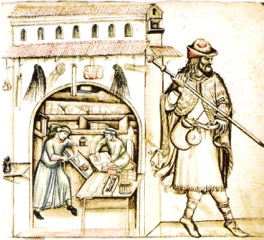 Medieval pilgrim's dress with ampullae tied to his belt