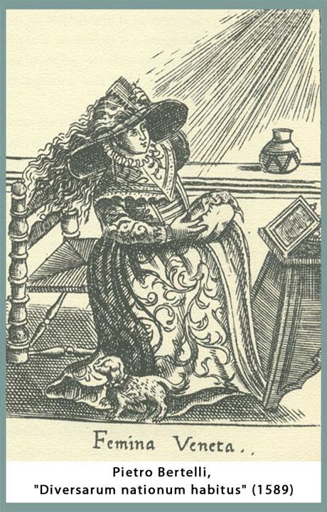 Donna veneziana mentre si tinge i capelli di biondo