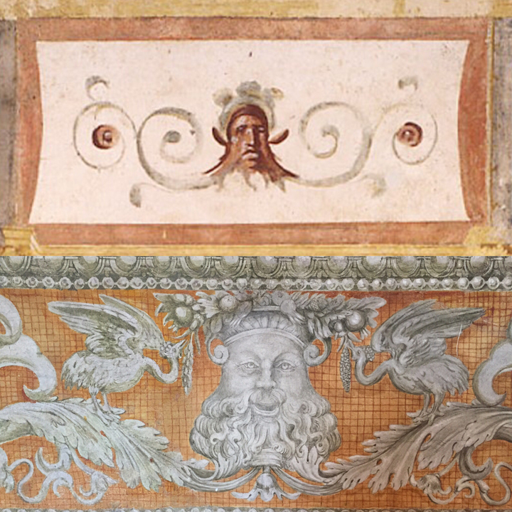Details of masques in the Domus Aurea and in the Callisto Room in Palazzo Grimani, decorated by Giovanni da Udine (1537-39)