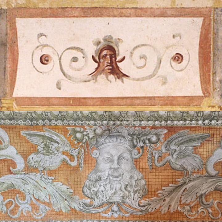 Dettagli di mascheroni dalla Domus Aurea e dal basamento del Camerino di Callisto in Palazzo Grimani, decorato da Giovanni da Udine (1537-39)