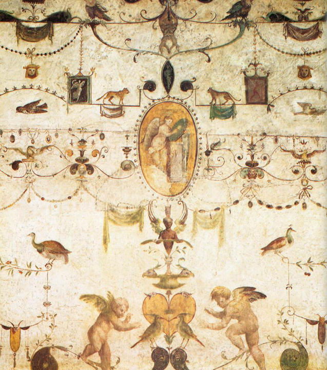 Dettaglio delle grottesche di Giovanni da Udine nella Loggia del Cardinal Bibbiena a Roma