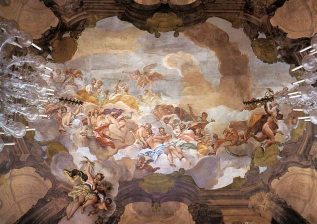 """Affreschi settecenteschi di Nicolò Bambini nel soffitto dell'aula magna di Palazzo Dolfin a Venezia: """"La Glorificazione della Famiglia Dolfin"""
