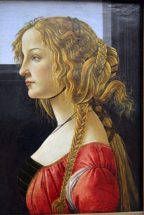 Sandro Botticelli, ritratto di profilo di una ragazza, 1460-65 ca.– fonte: [Public domain] attraverso Wikimedia Commons