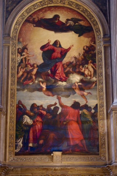 Venice, Frari Church, Assunta, The Assumption of the Vergin Mary by Titian, 1516-18, oil on wood