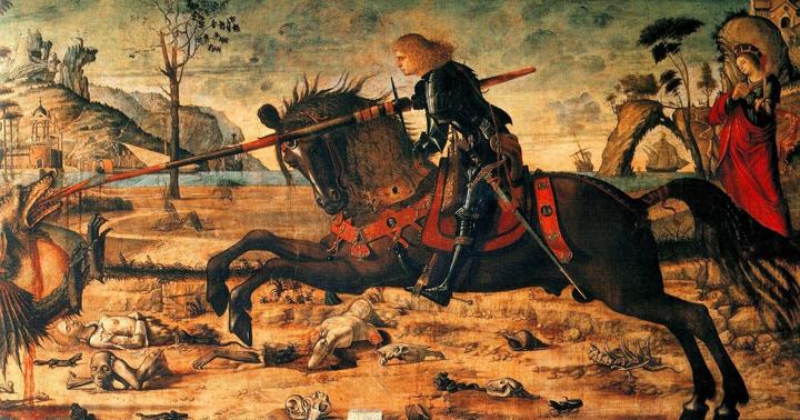 Vittore Carpaccio, San Giorgio a cavallo trafigge il drago (presso la Scuola Dalmata a Venezia)
