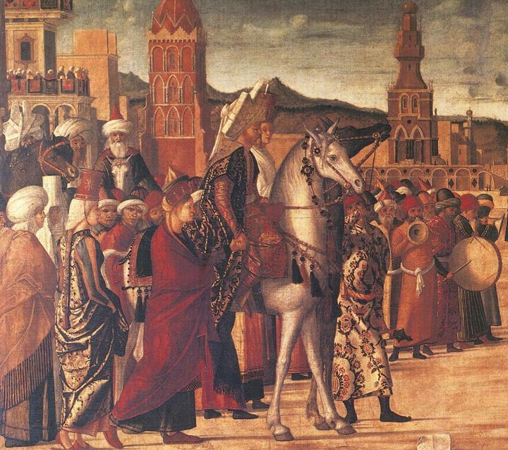 San Giorgio uccide il drago nella città di Selene; particolare del corteo regale (presso la Scuola Dalmata a Venezia)