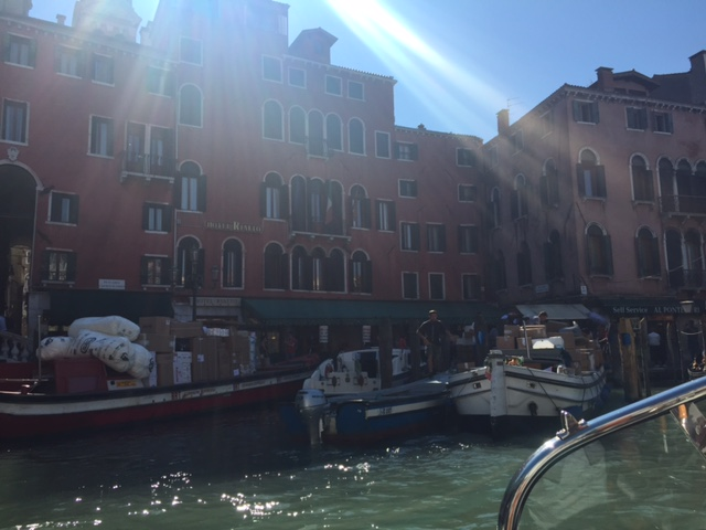 Boats delivering goods in Venice