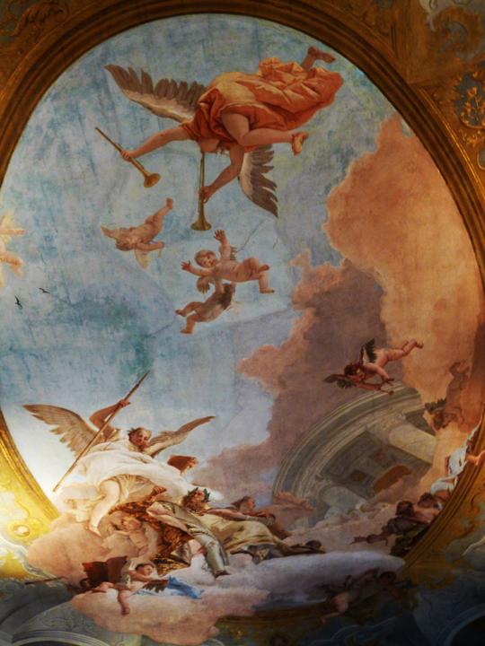 Affresco di Gianbattista Tiepolo, Il Merito verso il tempio della gloria a Ca' Rezzonico, Museo del Settecento veneziano, Venezia