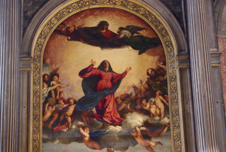 Venezia, chiesa dei Frari, Assunta, particolare