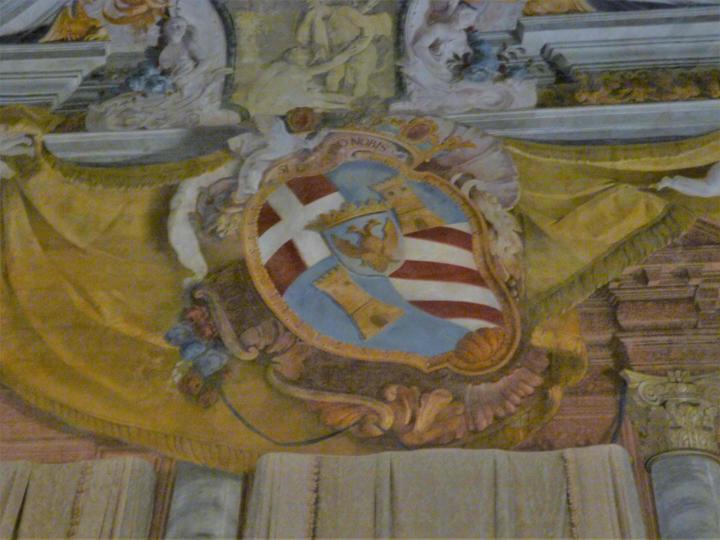 Lo Stemma della famiglia Rezzonico, affresco a Ca' Rezzonico, Museo del Settecento veneziano, Venezia