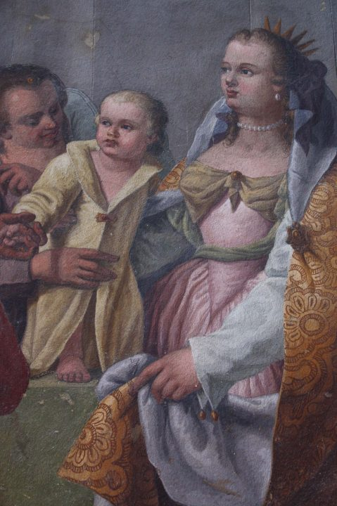 Caterina Cornaro and her child, detail of fresco in the palazzo Corner in Venice