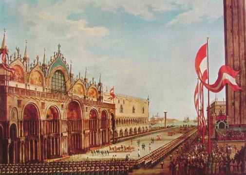 Vincenzo Chilone, La cerimonia del ricollocamento dei cavalli bronzei nel pronao della basilica di San Marco, 1815, collezione privata