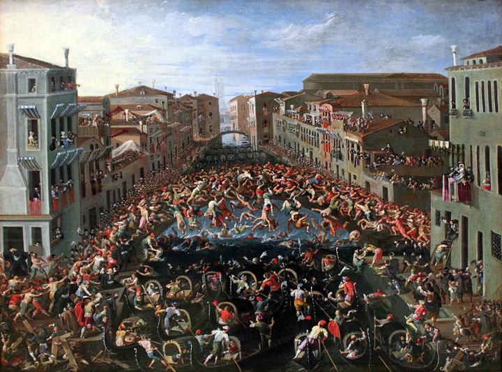 Joseph Heintz il Giovane, Competizione al ponte dei pugni a Venezia, 1673, Germanisches Nationalmuseum, Nürnberg.