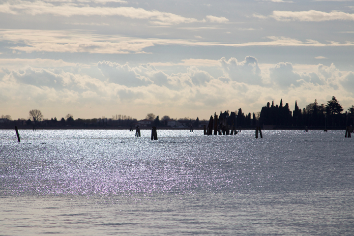 The Venetian lagoon and its islands in the shimmering light
