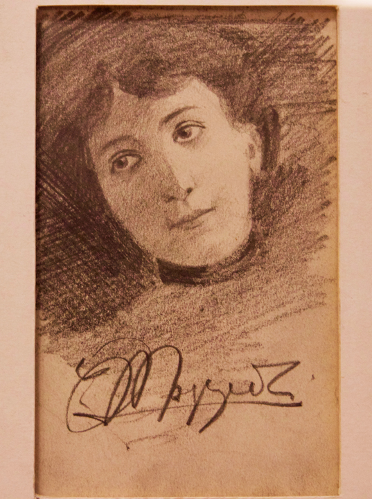 Portrait in charcoal of a woman by Umberto Moggioli in Da Romano restaurant in Burano