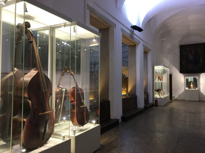 Partial view of the area displaying musical instruments. A lovely double bass with gut strings can be seen in the foreground