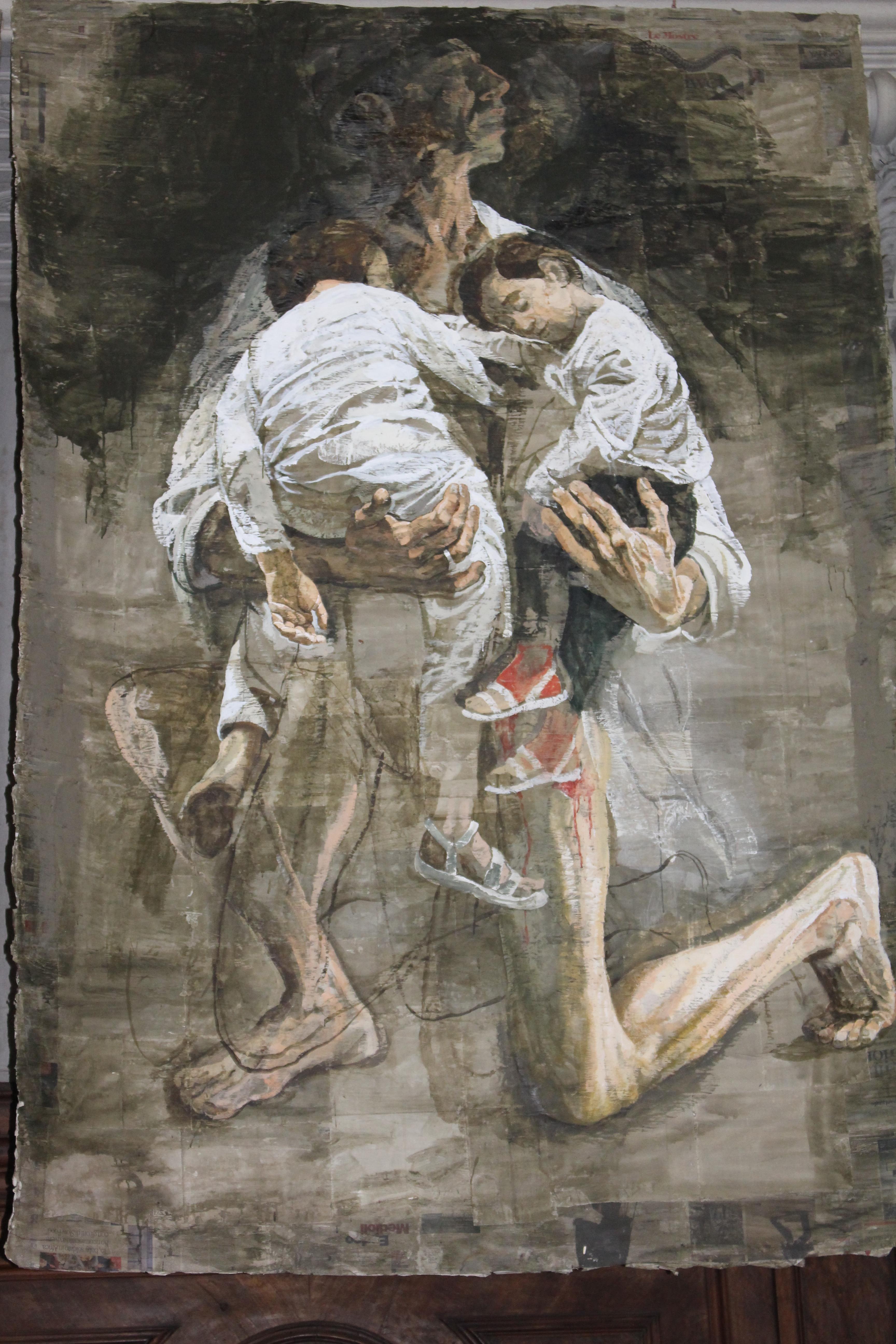 Safet Zec : Uomo e Bimbi, 2017, tempéra sur papier sur toile