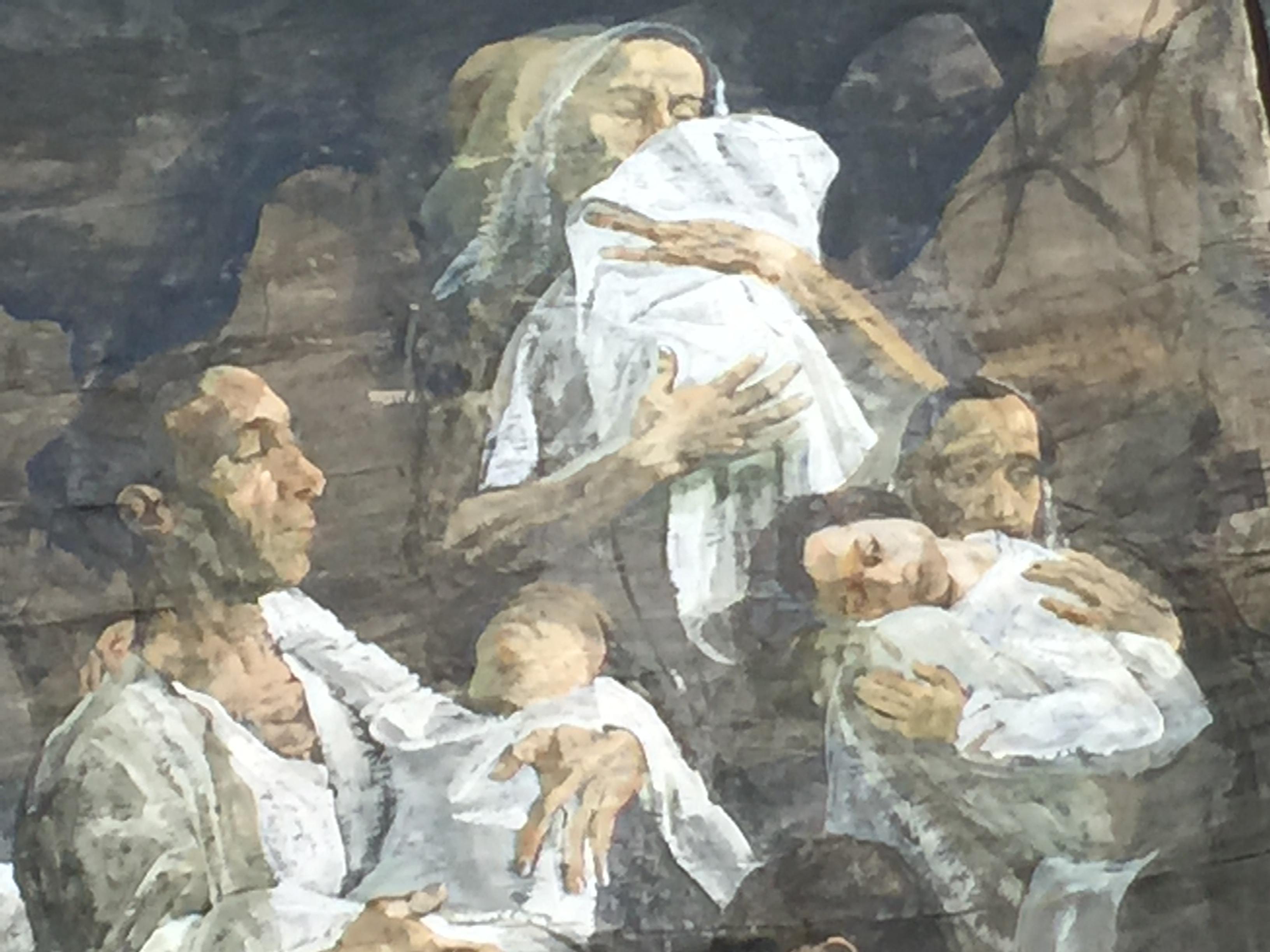 Safet Zec : détail du Polittico Barca, 2017, tempéra sur papier sur toile