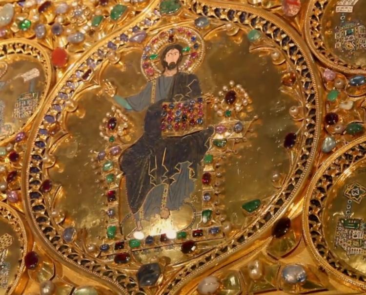 Pala d'Oro nella Basilica di San Marco, Cristo al centro, particolare
