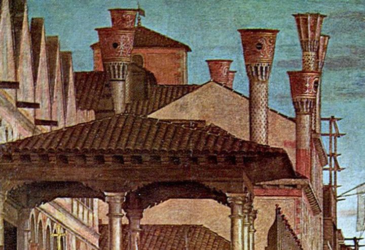 Vittore Carpaccio, Miracolo della Croce a Rialto, Gallerie dell'Accademia, Venezia, dettaglio dei camini affescati