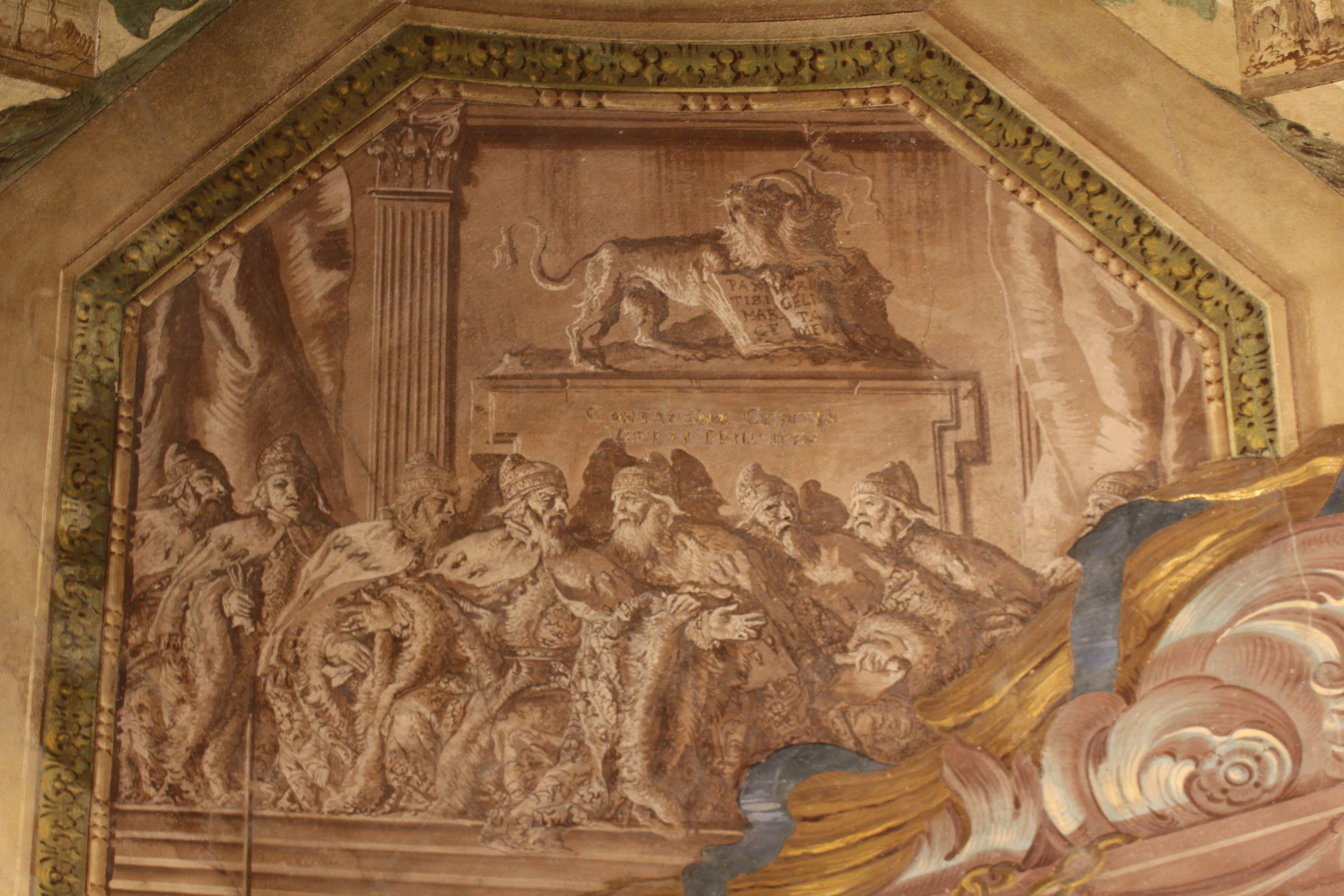 les huit Doges de la famille Contarini, la seule à Venise à avoir été représentée huit fois au plus haut poste de l'État ; monochrome du plafond