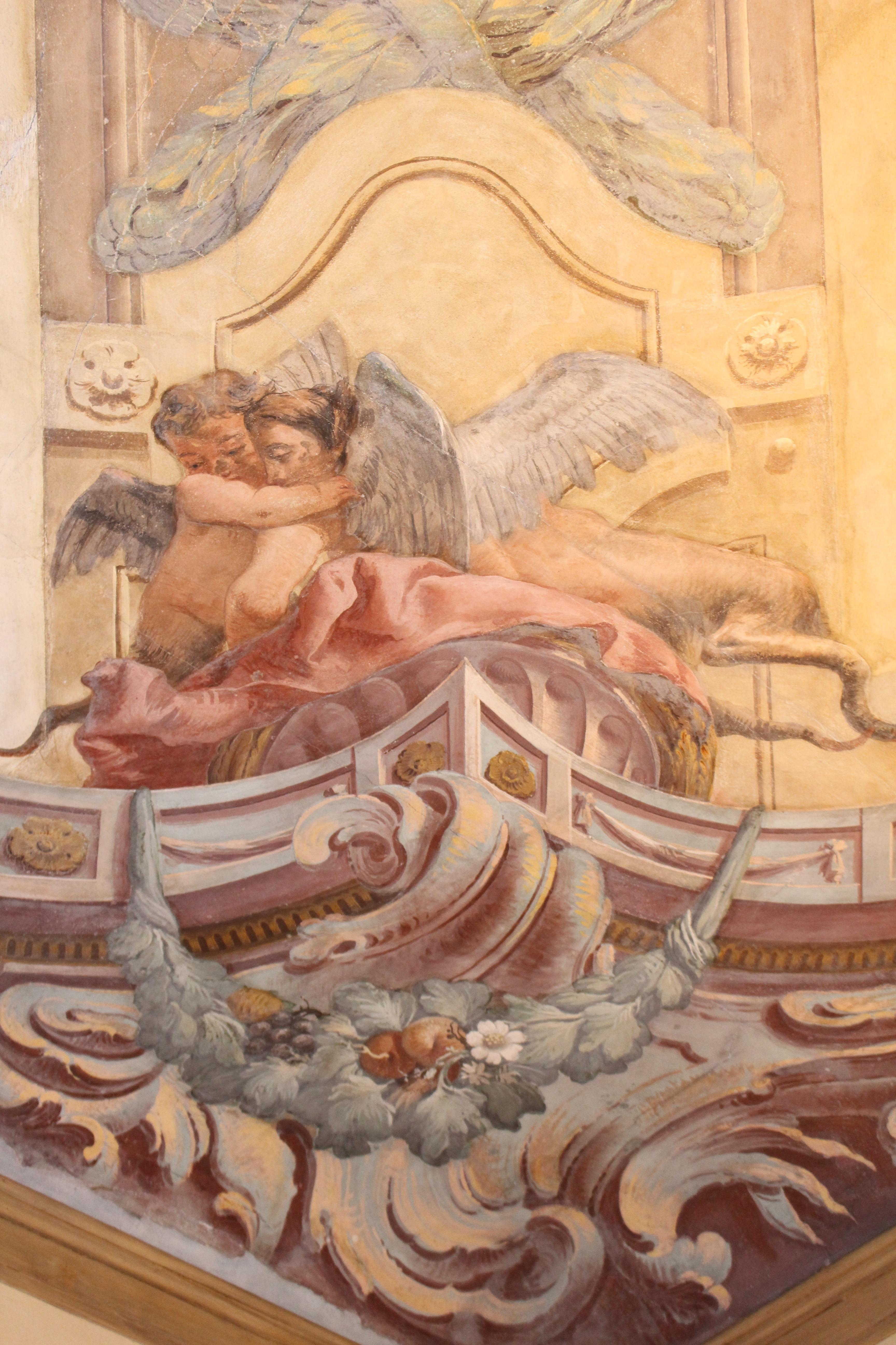 détail angulaire de la fresque de l'école de Tiepolo