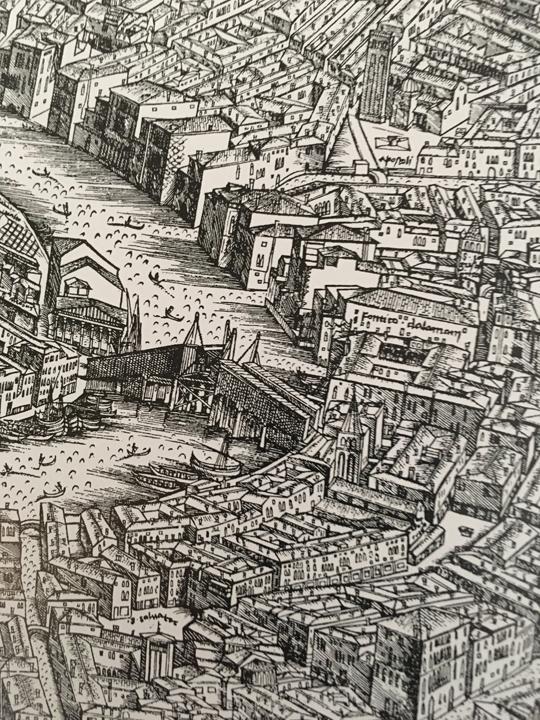 The Rialto bridge as in the map by Jacopo de' Barbari, 1500, Venice