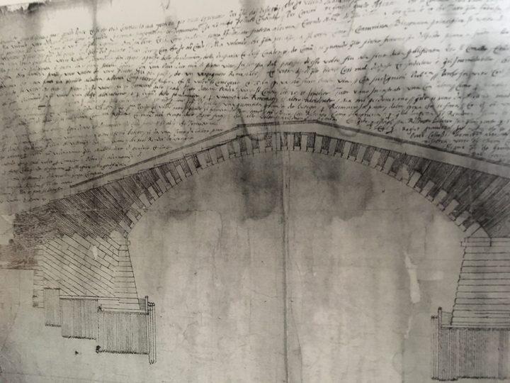 Disegno delle palificazioni del ponte di Rialto, probabilmente di F. Zamberlan per l'ufficio dei Provveditori sopra la Fabbrica del Ponte di Rialto, Venezia, Archivio di Stato