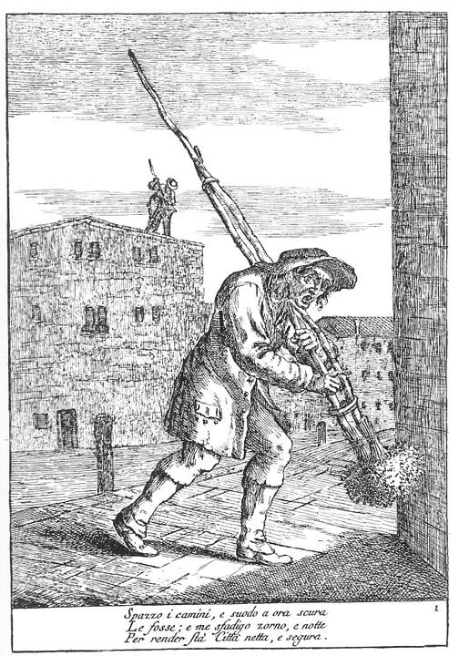 Gaetano Zompini, Le arti che vanno per via nella città di Venezia, 1753, dettaglio dello spazzacamino