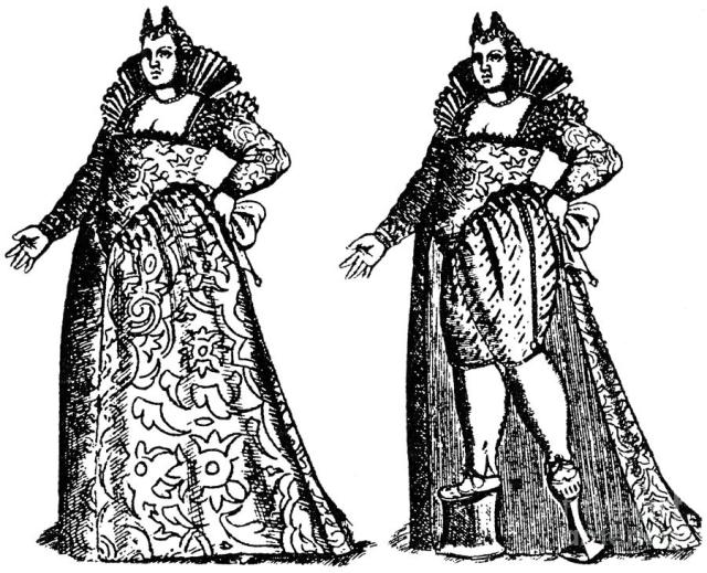 Venetian ladies wearing calcagnetti
