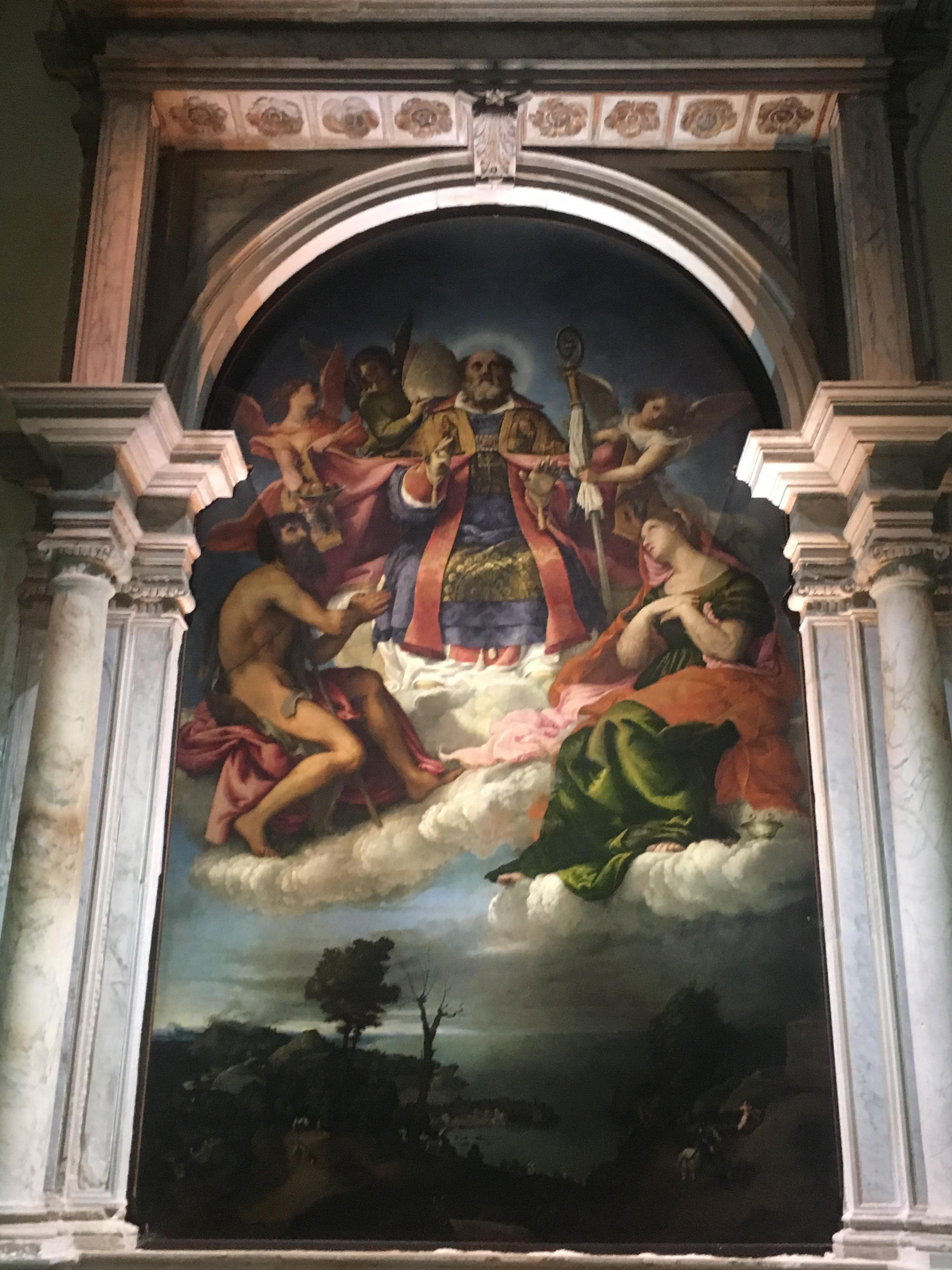 Лоренцо Лотто, Святой Николай со святым Иоанном Крестителем и святой Лючией., 1527-29