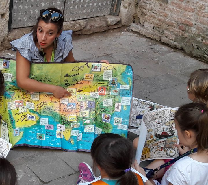 Kids learning about Marco Polo's adventures
