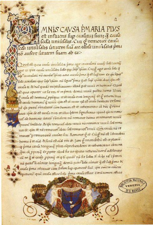 Liber de causis, Lat. 288, fol. 2r, Venice, Biblioteca Marciana