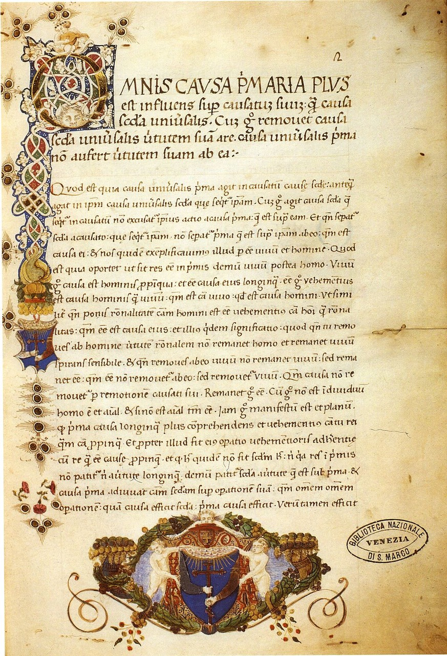 Liber de causis, Lat. 288, fol. 2r, Venise, Bibliothèque Marciana