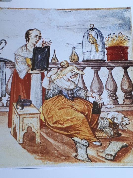 Cortigiana in altana, Codice Bottacin, dettaglio, Museo Bottacin, Padova