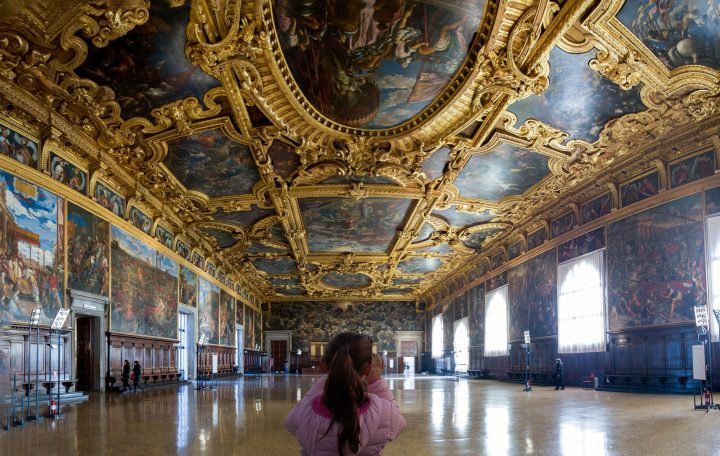 A young girl doing her searching in the Great Council room in the Palace