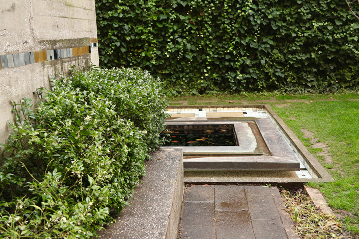 The water ponds in the Querini Stampalia garden designed by Carlo Scarpa