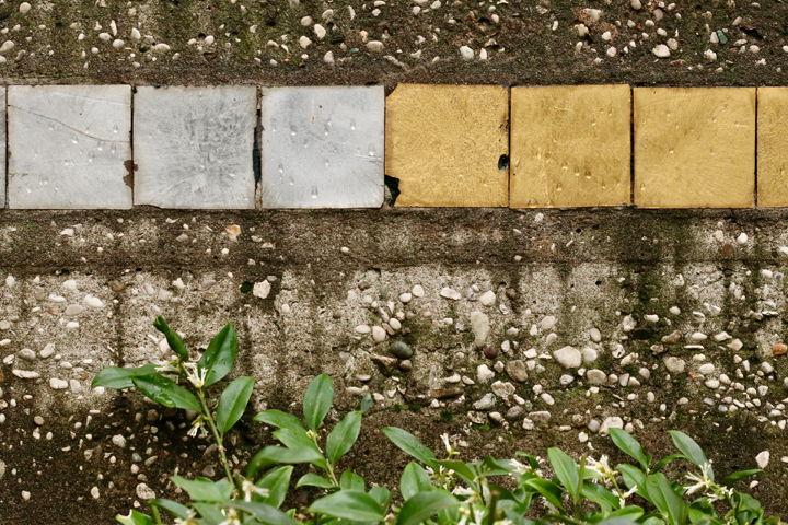 Mario De Luigi's mosaics tiles in the garden designed by Carlo Scarpa for the Querini Stampalia palace