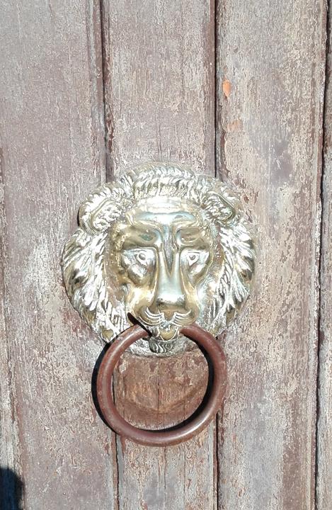 Il batacchio di una porta veneziana con la testa di leone