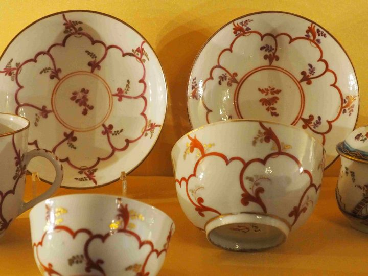cups and saucers with 'cadena' pattern