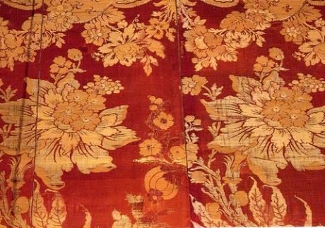 Particolare di tessuto a Palazzo Querini Stampalia a Venezia