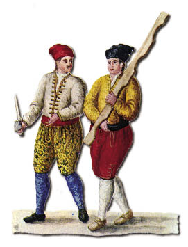 Nicolotti and Castellani, drawing by Grevembroch