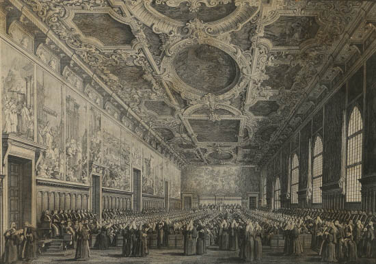 Etching by Giambattista Brustolon from drawing by Antonio Canaletto, XVIII century. It shows a meeting of the Great Council. Tintoretto's Paradise can be seen in the background