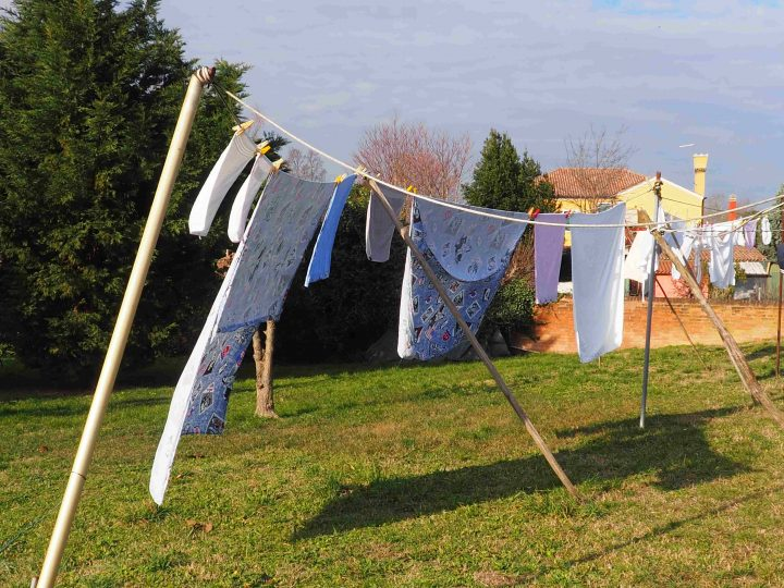 fluttering laundry drying in the old fashion