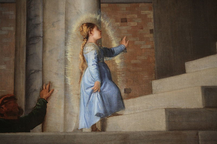 Dettaglio da Tiziano Vecellio, Presentazione di Maria al tempio, Venezia, Gallerie dell'Accademia
